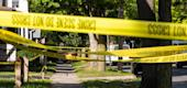 Police tape lines a crime scene after a shooting at a backyard party on September 19, 2020, Rochester, New York. (Getty Images)