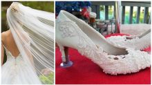 Bride's 'hideous' wedding veil shoes confuse everyone
