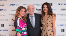 Amal Clooney dazzles in Oscar de la Renta during first visit to Toronto