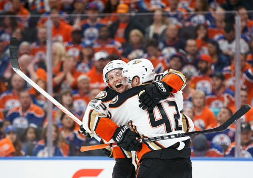 EDMONTON, AB - APRIL 30: Jakob Silfverberg #33 and Josh Manson #42 of the Anaheim Ducks celebrate Silfverberg's goal against the Edmonton Oilers in Game Three of the Western Conference Second Round during the 2017 NHL Stanley Cup Playoffs at Rogers Place on April 30, 2017 in Edmonton, Alberta, Canada. The Ducks won 6-3. (Photo by Codie McLachlan/Getty Images)