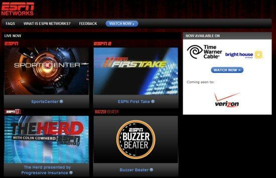 ESPN2, ESPNU and ESPN Buzzer Beater now available online for Time Warner & Brighthouse