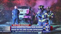 Alleged drunk driver saved from burning crash