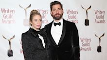 Emily Blunt and John Krasinski twin in matching tuxedos on the red carpet
