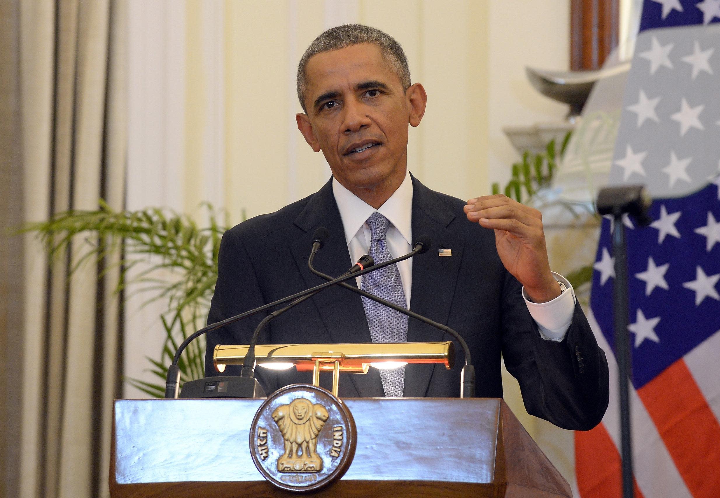 US President Barack Obama addresses the media in New Delhi, India on January 25, 2015 (AFP Photo/Prakash Singh)