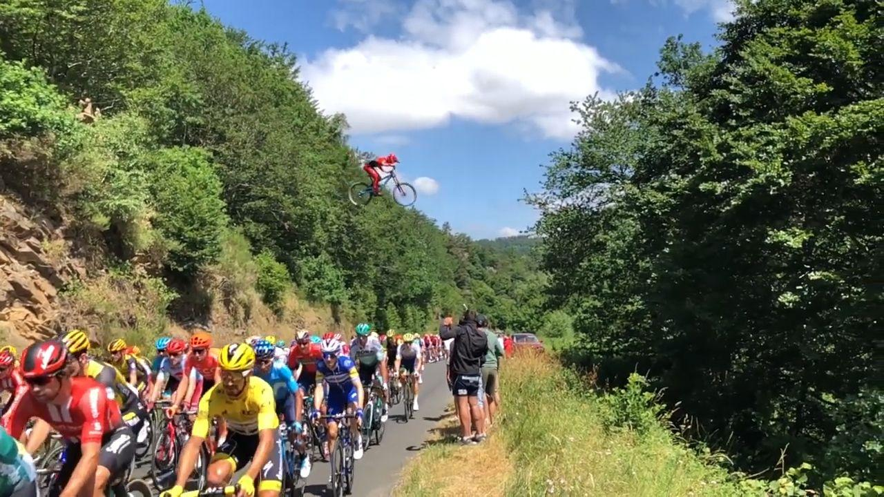 """<p>From jaw-dropping jumps to heart-stopping animal attacks, some bike videos make us click replay again and again. </p><p>Take the first video on our list, which happened during the 2019 Tour de France. <a href=""""https://www.bicycling.com/tour-de-france/a28397035/wout-van-aert-tour-de-france-stage-10/"""" rel=""""nofollow noopener"""" target=""""_blank"""" data-ylk=""""slk:During Stage 10"""" class=""""link rapid-noclick-resp"""">During Stage 10</a>, French mountain biker <a href=""""https://www.instagram.com/valentin_anouilh/?hl=en"""" rel=""""nofollow noopener"""" target=""""_blank"""" data-ylk=""""slk:Valentin Anouilh"""" class=""""link rapid-noclick-resp"""">Valentin Anouilh</a> became the fourth person to document their road gap jump over the peloton. Anouihl, along with crew members like cameraman <a href=""""https://www.instagram.com/fabian_mct/"""" rel=""""nofollow noopener"""" target=""""_blank"""" data-ylk=""""slk:Fabian Monchâtre"""" class=""""link rapid-noclick-resp"""">Fabian Monchâtre</a>, spent three weeks building the ramp, while Anouihl practiced the jump just a week out. They built the ramp 25-feet high to ensure enough clearance while passing over the riders, which worked out to 11-feet. </p><p>""""The racers were smiling,"""" Anouihl told <em>Bicycling</em> about those in the peloton. """"We could hear them say 'Nice one!' at the back of the peloton."""" </p><p>They've received a ton of positive feedback from others, too. Their video racked up more than 3 million views <a href=""""https://www.youtube.com/watch?v=8dUBQIL9uLQ"""" rel=""""nofollow noopener"""" target=""""_blank"""" data-ylk=""""slk:on YouTube"""" class=""""link rapid-noclick-resp"""">on YouTube</a>.</p><p>""""The goal was not to go viral, but to have fun,"""" he said. """"We didn't imagine the extent it would reach!""""</p><p>While not quite a yearly occurrence, the move has been done in the past by <a href=""""https://www.youtube.com/watch?v=V1YlFQVTBuI"""" rel=""""nofollow noopener"""" target=""""_blank"""" data-ylk=""""slk:Dave Watson"""" class=""""link rapid-noclick-resp"""">Dave Watson</a> (who crashed upon landing), <a href=""""https://www.youtube"""
