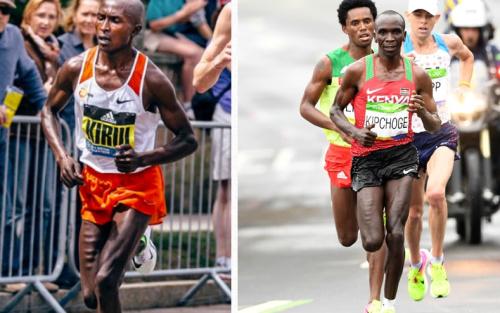Geoffrey Kirui andEliud Kipchoge show off their freakish legs - Getty Images