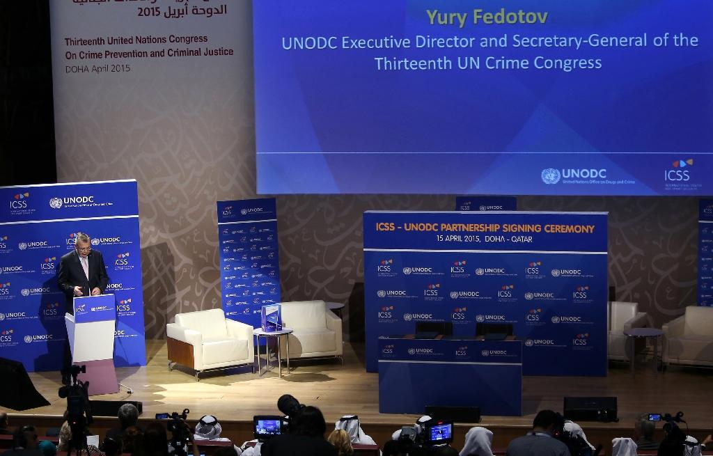 UN Office on Drugs and Crime Executive Director Yury Fedotov delivers a speech in Doha on April 15, 2015 (AFP Photo/Karim Jaafar)