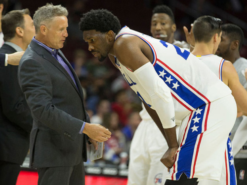 Brett Brown and Joel Embiid. (Getty Images)