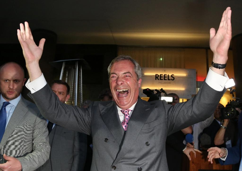 Having achieved his ambition of a Brexit vote, Nigel Farage (centre) will leave the UK Independence Party (UKIP) that he co-founded in 1993 in a precarious position when he hands over the reins Friday (AFP Photo/Geoff Caddick)