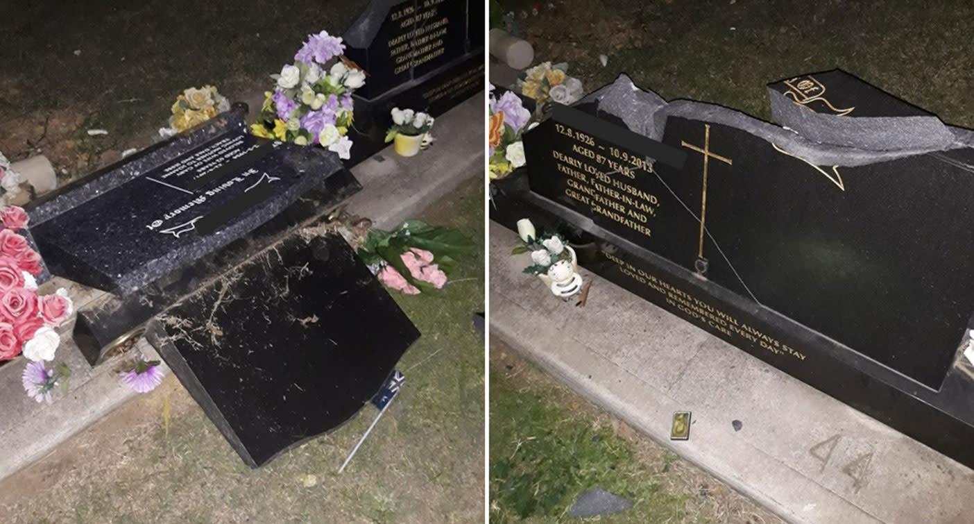 'Disgusting vandalism': Dozens of gravestones destroyed in 'sick' 15 minute rampage