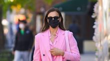 Irina Shayk Paired Her Barbie Pink Suit with an Unexpected Shoe