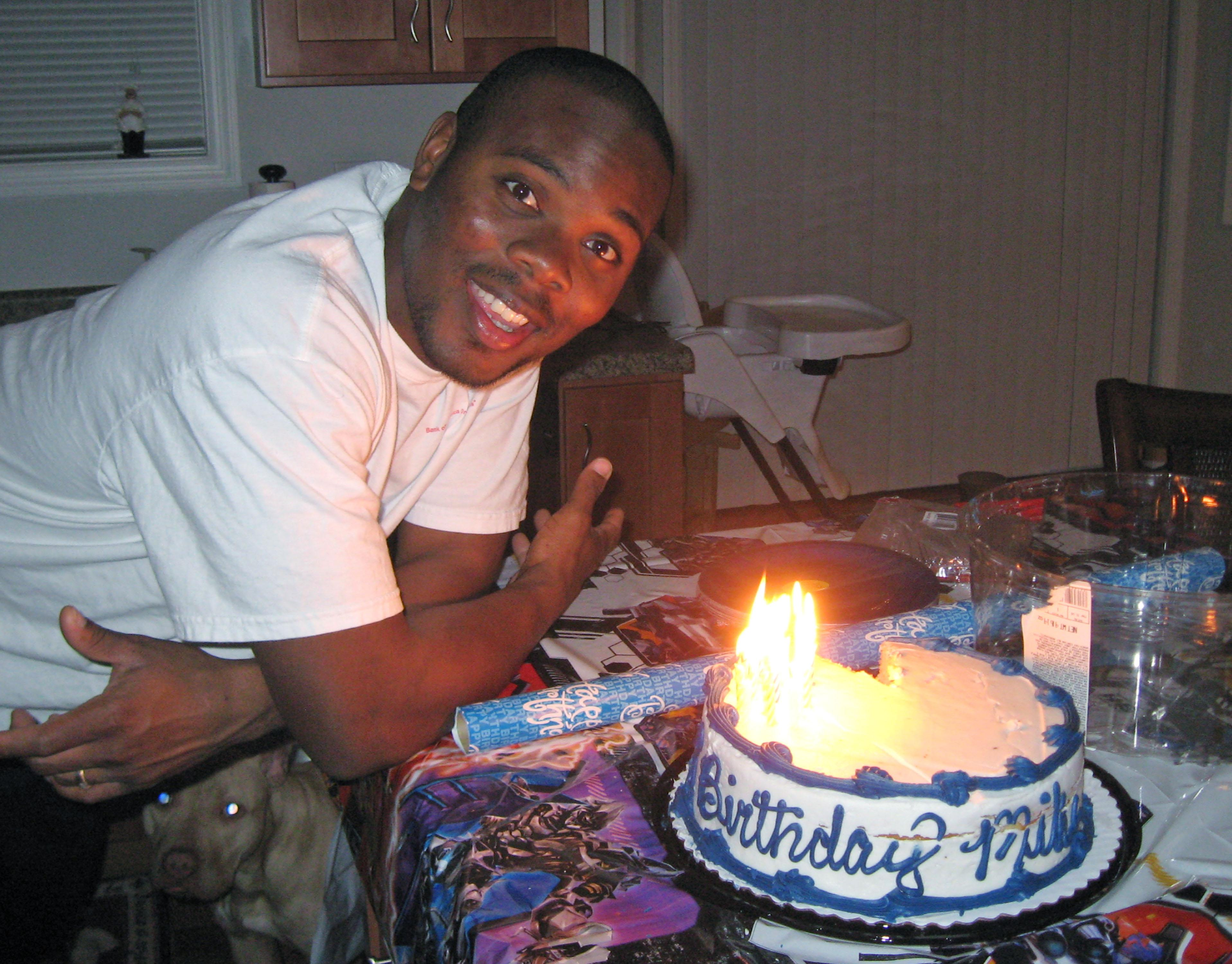 """In this photo provided by attorney Patrick Megaro is his client, Cornealious """"Mike"""" Anderson, with a birthday cake. Anderson, who avoided prison because of a clerical error and led a law-abiding life for 13 years, said he is overwhelmed by the support he's received since the story of his incarceration became public. Meanwhile, the Missouri attorney general signaled that he would look for a way to take Anderson's many years of clean living into account in attempting to resolve the """"difficult situation."""" (AP Photo/Courtesy Patrick Megaro)"""