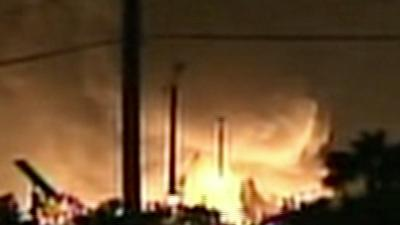 Raw: Flames at Florida Gas Plant After Explosion