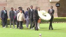 President of Zambia Edgar Lungu pays tribute to Mahatma Gandhi at Raj Ghat