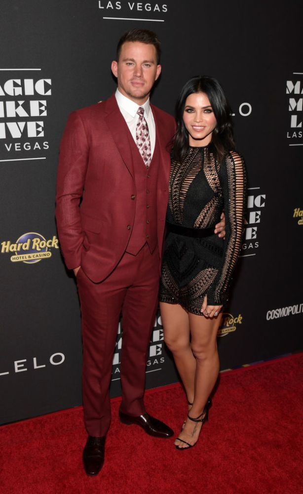 Jenna Dewan Tatum in Julien MacDonald, with her hubby, Channing Tatum