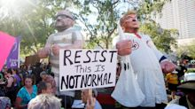 Outside Trump's rally in Phoenix, bikers, antifa, police, protesters and pepper spray