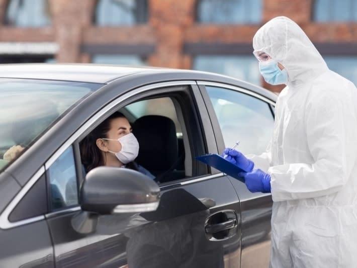 adult, car, chemical, client, clipboard, concept, contagion, coronavirus, covid-19, disease, doctor, drive-through, drive-thru, epidemic, ep