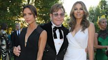 Victoria Beckham and Liz Hurley glam up for Elton John's star-studded party
