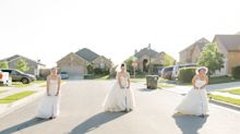 Neighbours lounge in their wedding dresses during lockdown for photo shoot