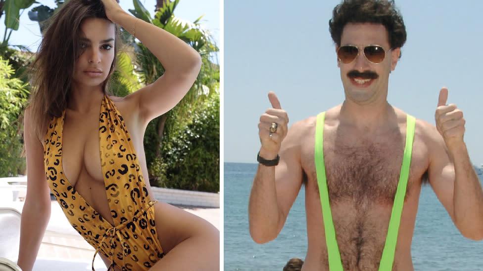Emily Ratajkowski's 'Borat style' swimsuit turns heads