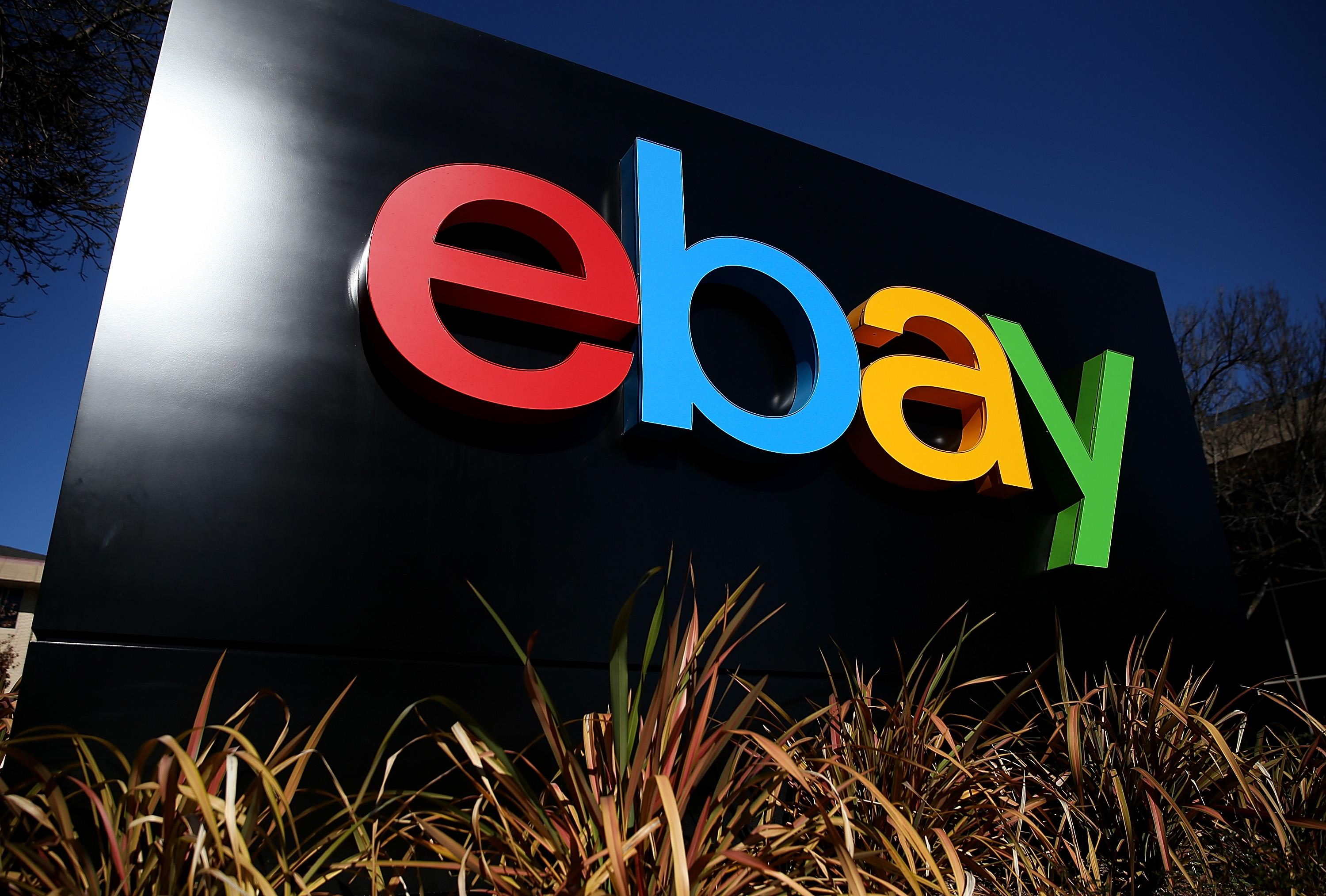 A sign is posted in front of the eBay headquarters on January 22, 2014 in San Jose, California (AFP Photo/Justin Sullivan)