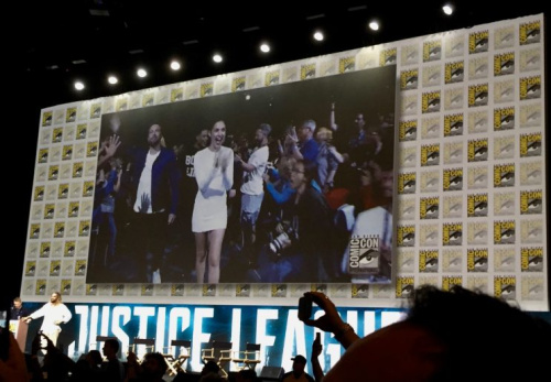 Gal Gadot and Ben Affleck enter Hall H at Comic-Con