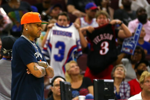 Allen Iverson coaches 3's Company at Sunday's BIG3 event in Philadelphia as fans look on. (Getty)