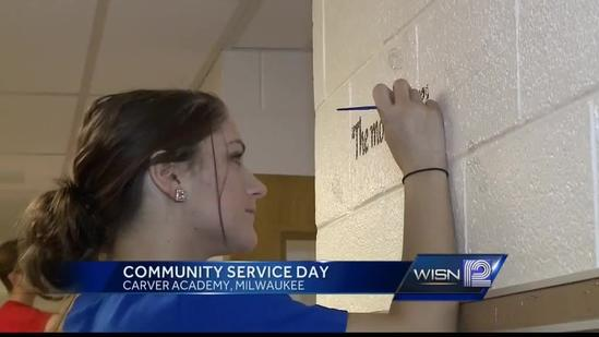 Chase Bank volunteers help fix up Carver Academy