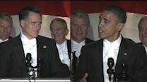 Obama, Romney trade jokes at dinner
