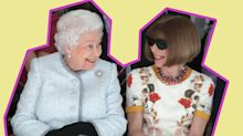 Should Anna Wintour have removed her sunglasses while sitting next to the Queen at LFW?