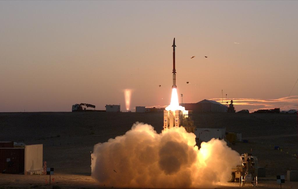 A handout picture released by the Israel Defence Ministry on December 21, 2015 shows tests being undertaken for Israel's David Sling's missile defence system