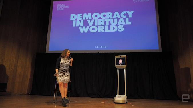 Fusion editor Kashmir Hill with Edward Snowden, who appeared via telepresence robot.