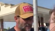 Trump supporter arrested after assaulting protester playing rap song which slams the president