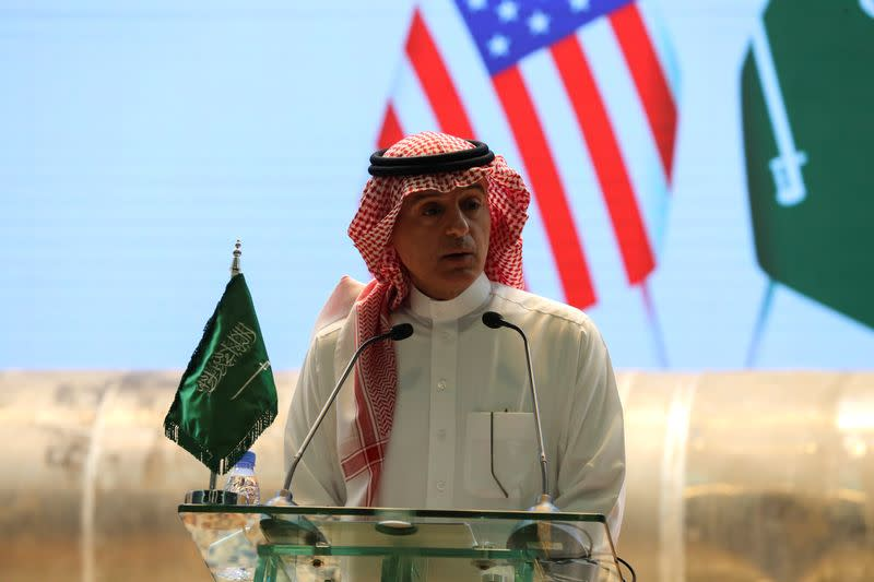 Saudi Arabia's Minister of State for Foreign Affairs Adel al-Jubeir speaks during a joint news conference with U.S. Special Representative for Iran Brian Hook, in Riyadh
