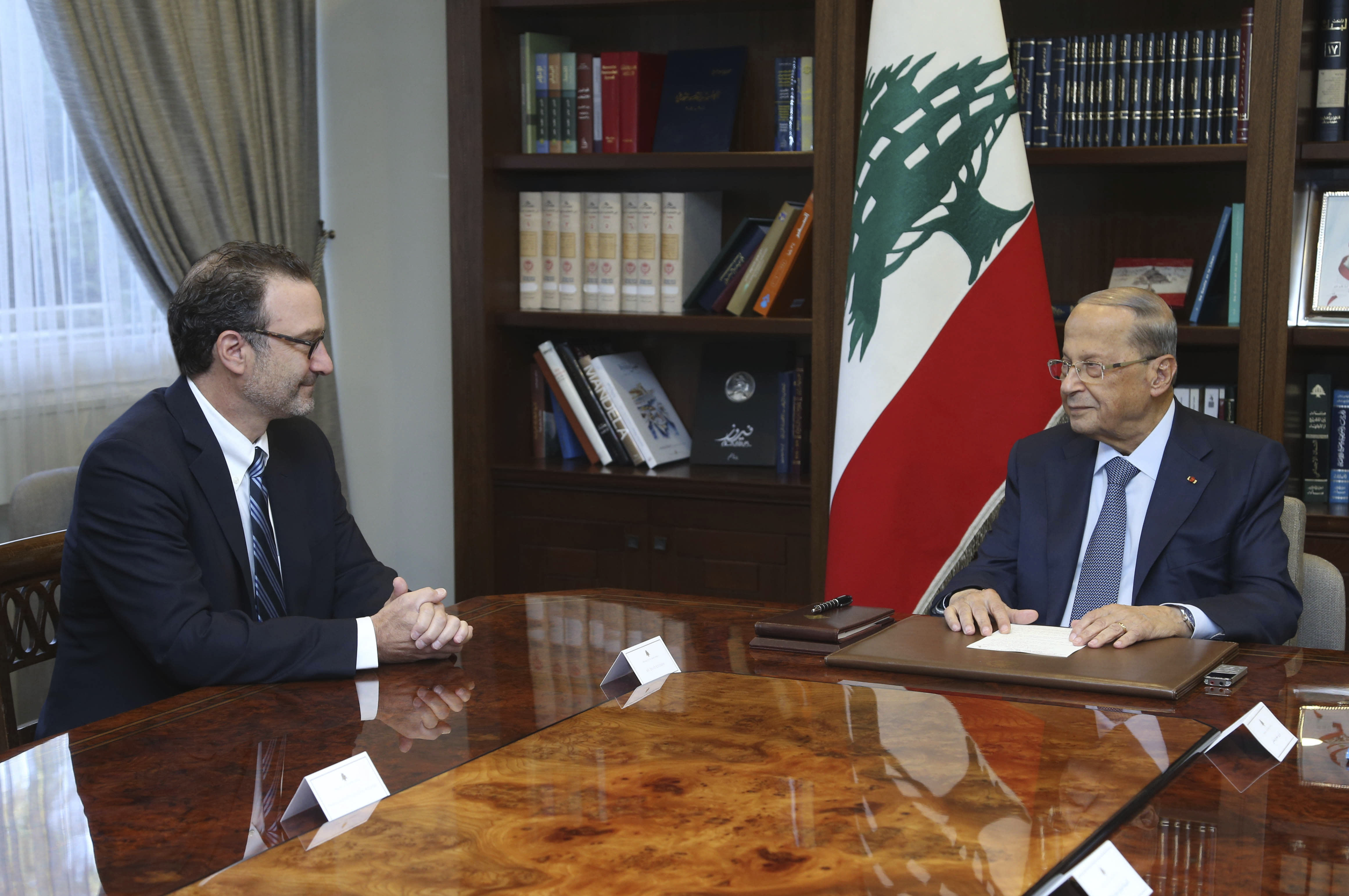 "In this photo released by Lebanon's official government photographer Dalati Nohra, Lebanese President Michel Aoun, right, meets with David Schenker, Assistant Secretary of State for Near Eastern Affairs, at the presidential palace, in Baabda east of Beirut, Lebanon, Tuesday, Sept. 10, 2019. The leader of Lebanon's militant Hezbollah group, Hassan Nasrallah, said Schenker visiting Beirut to mediate between Lebanon and Israel over a maritime border dispute is a ""friend of Israel."" Nasrallah urged Lebanese officials to negotiate from a point of strength. (Dalati Nohra via AP)"
