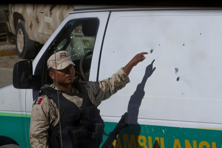 A bullet impact on an ambulance in Villa Union in northern Mexico where municipal authorities were targeted in a weekend attack (AFP Photo/Julio Cesar AGUILAR)