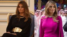 Melania Trump's Standout Style Statements in a Chunky Gold Belt & Soaring Pumps in Saudi Arabia
