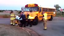 Raw Video: OKC school bus collides with car