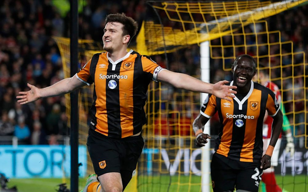 Harry Maguire celebrates Hull's fourth goal - REUTERS