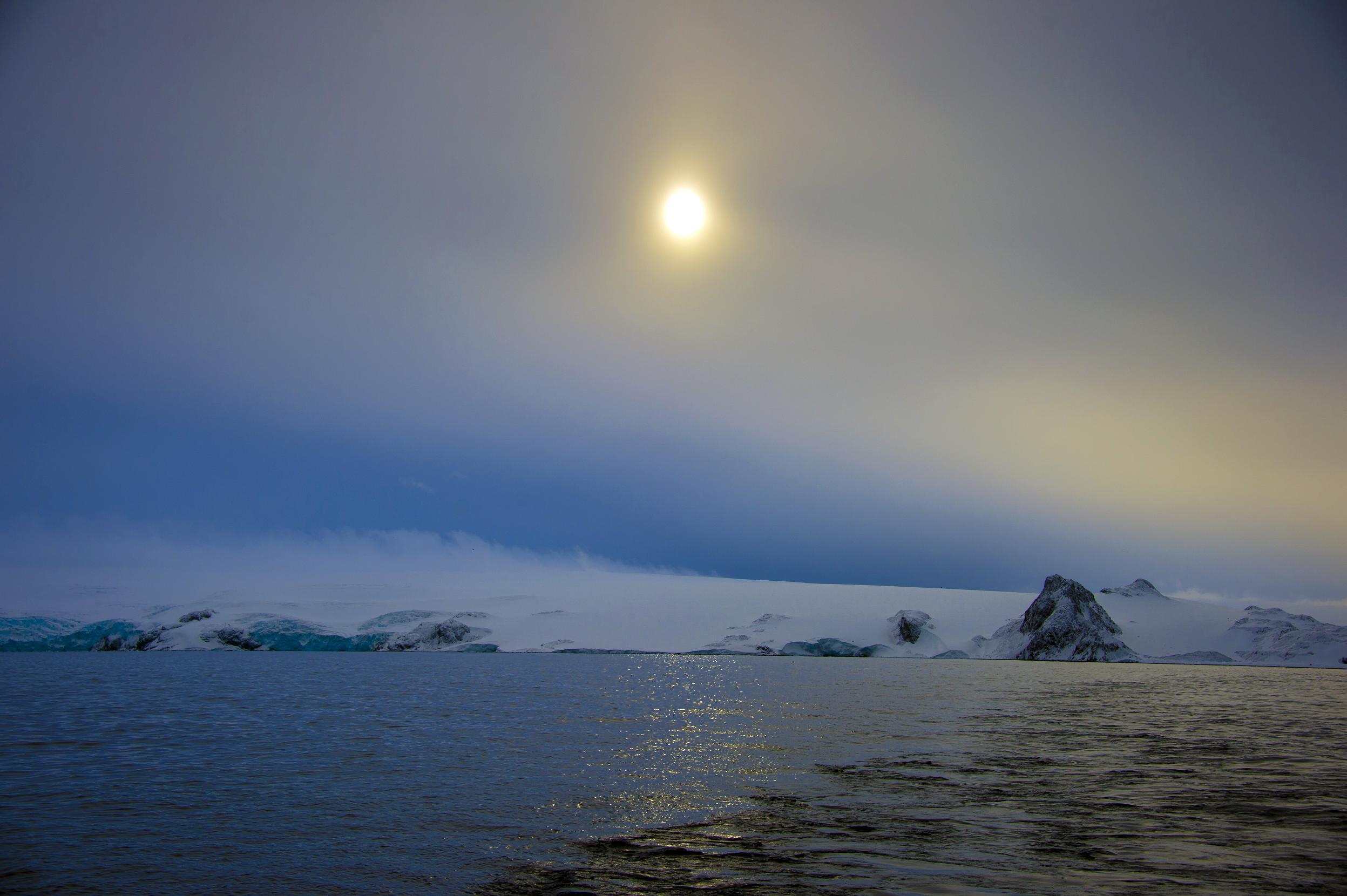 View of Antarctica early in the morning after a snow shower, on March 13, 2014