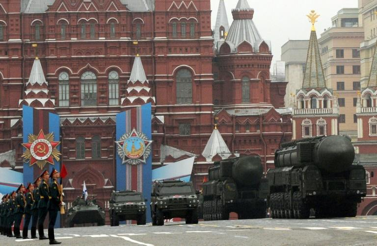 A column of Russia's Topol intercontinental ballistic missile launchers rolls at the Red Square in Moscow in 2012 (AFP Photo/KIRILL KUDRYAVTSEV)