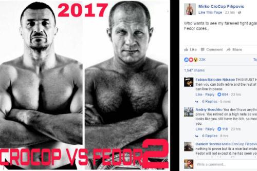Cro Cop quer a revanche para encerrar a carreira no MMA - Reprodução/Facebook