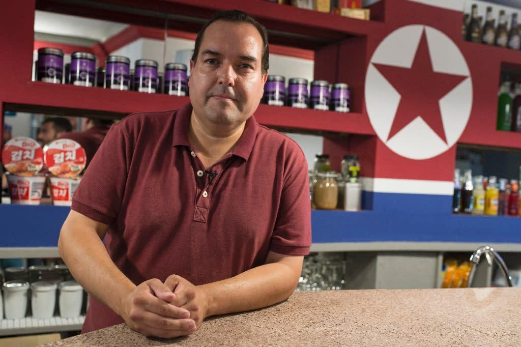 "Alejandro Cao de Benos founded the ""Pyongyang Cafe"" in Tarragona and is the president of the Korean Friendship Association (AFP Photo/Josep Lago)"