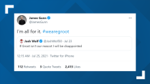 """""""Guardians of the Galaxy"""" director James Gunn tweets his support for Groot, Rocket the Raccoon to become Cleveland's new MLB mascot"""