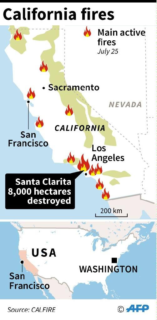 Locating the main fires in California, July 25 (AFP Photo/INFOGRAPHIE)