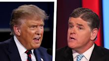 Coughing Trump struggles to speak as he dodges Sean Hannity's questions about his COVID-19 tests