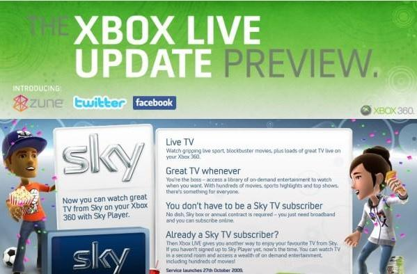 Xbox 360 Dashboard Update... updates: Preview program reopened, Sky TV due Oct. 27