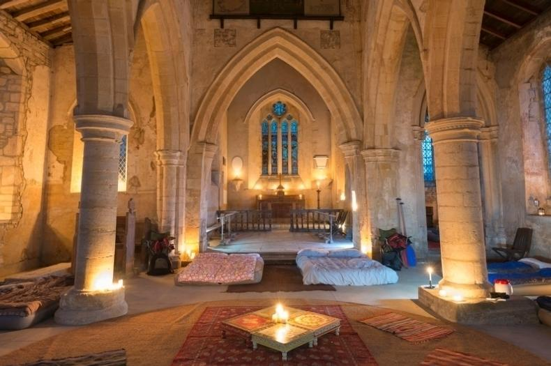 """<p>For a unique camping experience in Britain, <a href=""""http://www.champing.co.uk/"""" target=""""_blank"""">champing</a> (church camping) is a magical way to spend the night in a historical building surrounded by the English countryside. The Churches Conservation Trust offers a range of centuries-old churches for you to camp with the kids, such as <a href=""""http://www.champing.co.uk/church/aldwincle-northants-all-saints/"""" target=""""_blank"""">All Saints Church</a> in Aldwincle, Northamptonshire, which offers medieval simplicity and the chance to get cosy by candlelight before a peaceful night's sleep. From £39 per adult per night and £19 per child.</p>"""