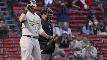 A's DH Mitch Moreland shares World Series words of wisdom