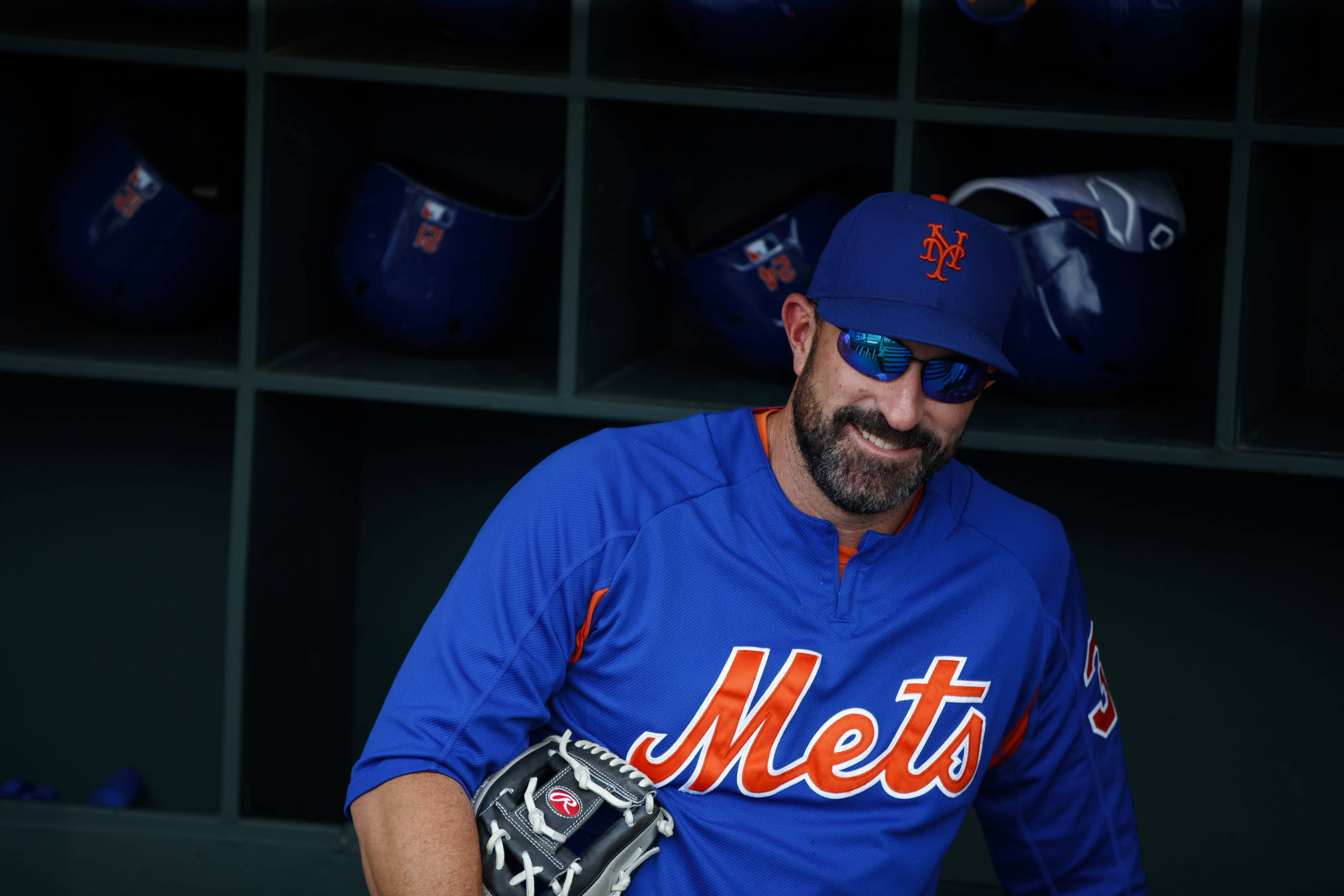 New York Mets manager Mickey Callaway smiles during batting practice before a baseball game against the Philadelphia Phillies, Monday, June 24, 2019, in Philadelphia. (AP Photo/Matt Slocum)